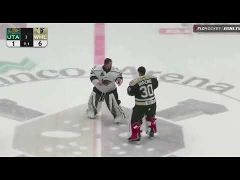 ECHL Goalie Fight Francois Brassard Wheeling Nailers vs Kevin Carr Utah Grizzlies 2 28 21