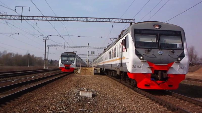 Отправление укороченным маршрутом из Талдома в Москву электропоезда ЭД4М 0461