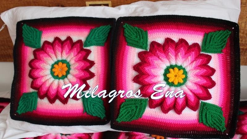 Colcha a crochet con cuadrados de FLOR DALIA ROSADA paso a paso en video tutorial