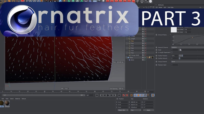 Ornatrix Cinema 4d tutorial. Part 3. Edit guides modifier.