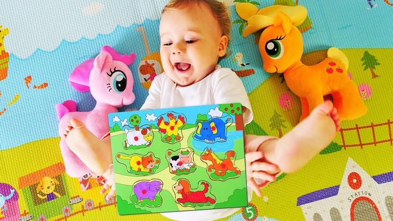 My Little Pony ile hayvanlar yapbozu. Eğitici video.