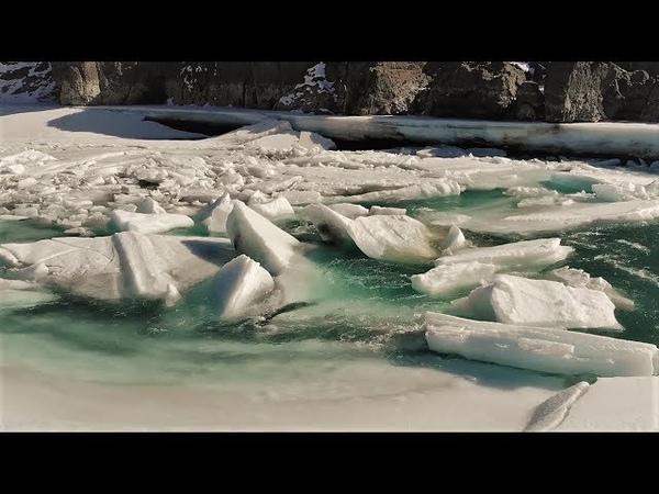 Altai Изумрудная Катунь пробуждается Ice break off on Katun river Аэросъемка Алтай Drone video HD