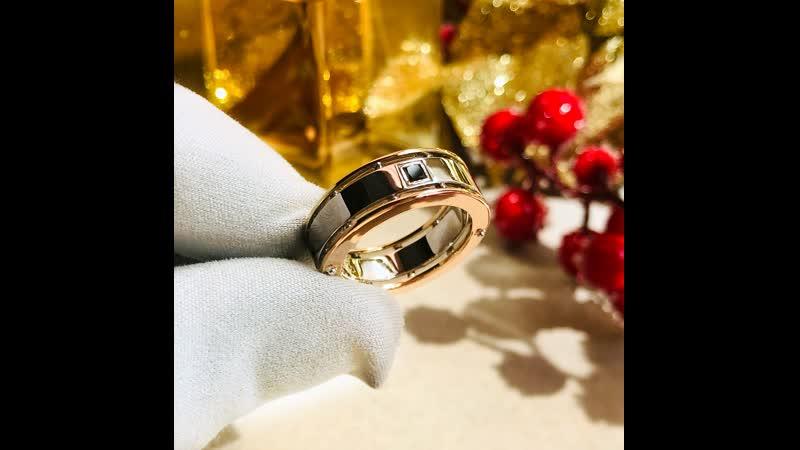 Подарочное мужское кольцо из трёх видов золота 585 пробы с бриллиантом и гравировкой кардиограммы сердца