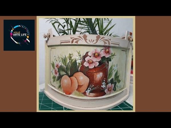 Floreira MDF Decorada com Decoupage Guardanapos Pêssegos e Flores