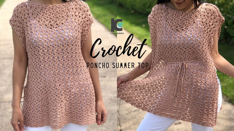 Crochet Poncho Summer Top Free Crochet pattern XS XXL
