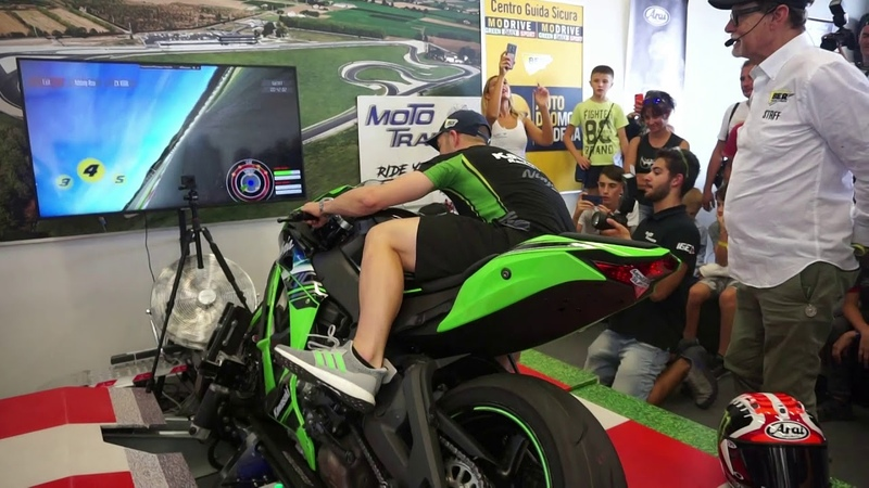 Jonathan Rea SBK World Champion riding a ZX10RR on Moto Trainer