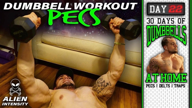 At Home Chest Workout With Dumbbells 30 Days to Build Pecs Delts Trap Muscles Dumbbells Only