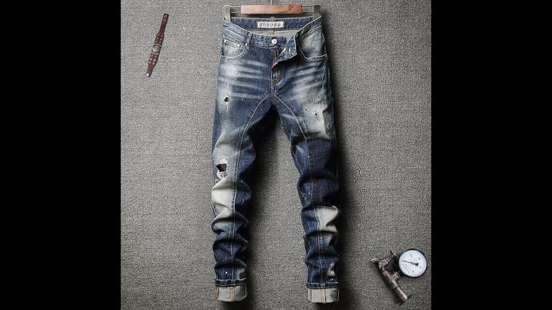 Итальянский стиль модные мужские джинсы ретро стиль синие белые потертые рваные джинсы уличная одежда облегающие ретро
