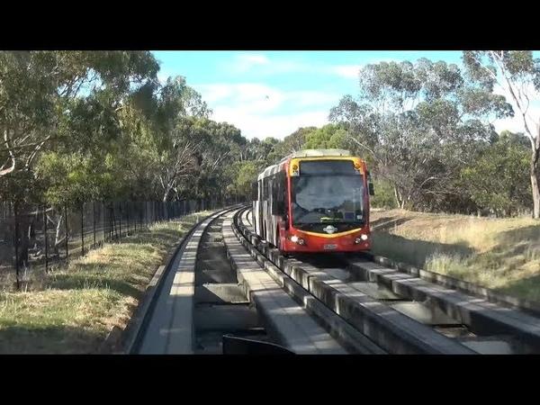 4K前面展望 時速90㎞でバスが線路を快走!オーストラリアO Bahn TTPインタ