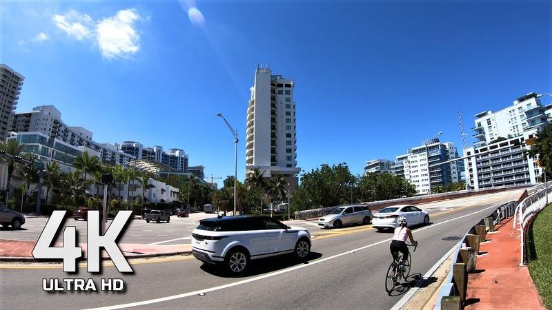 SUNDAY MORNING WALK 4K ULTRA HD 60FPS MIAMI BEACH FLORIDA USA AΩ
