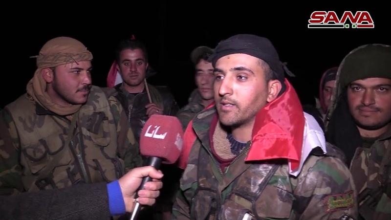 التقاء وحدات الجيش المتقدمة من ريفي حلب الجنوبي وإدلب الشرقي في تلة العيس بعد دحر الإرهابيين عنها