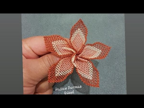 Yapımını Daha Önce Görmediğiniz İğne Oyası Kat Kat Görünümlü Tek Sırada Yapılan Çiçek Yapımı