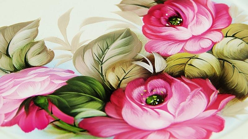 Цветы Три Розы Как нарисовать 🎨ЖОСТОВО 24 02 2020 Мастер класс по рисованию