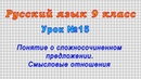 Русский язык 9 класс (Урок№15 - Понятие о сложносочиненном предложении. Смысловые отношения.)