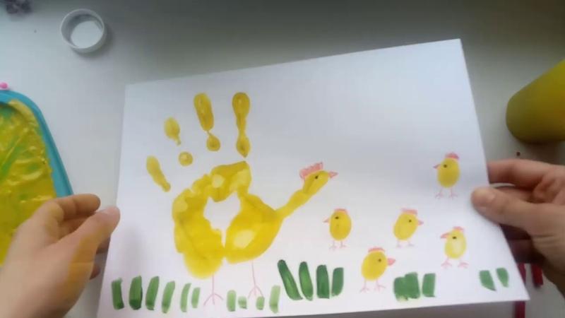 Пальчиковое рисование Курочка с цыплятами 3 4 года