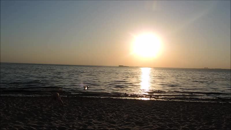 Закат Обское море