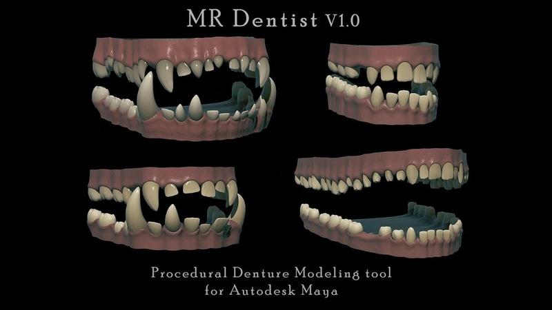 Tool V1 0 Procedural Teeth Gums Dentures Modeling Tool for Autodesk Maya