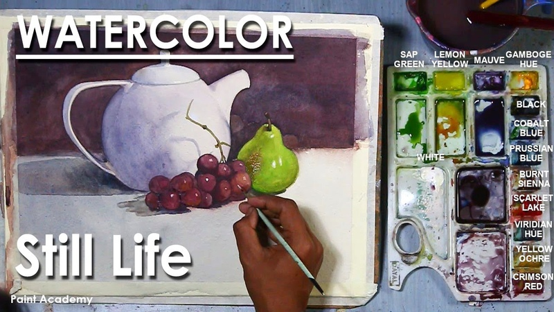 Watercolor Still Life Painting Kettle and Fruits