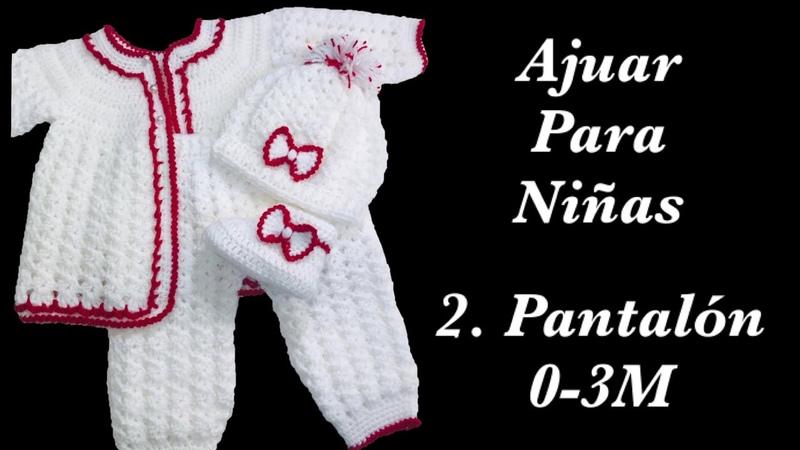 Ajuar a crochet para bebé Como tejer pantalóncitos para niñas en gancho 0 6M Crochet for Baby 168