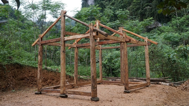 How To Build house Full Shelter Build with Hand Tools Primitive Skills