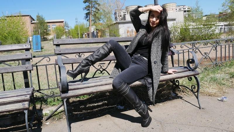 Catherina's Gianmarco Lorenzi platform high heels black leather boots Size EU 37 US 7