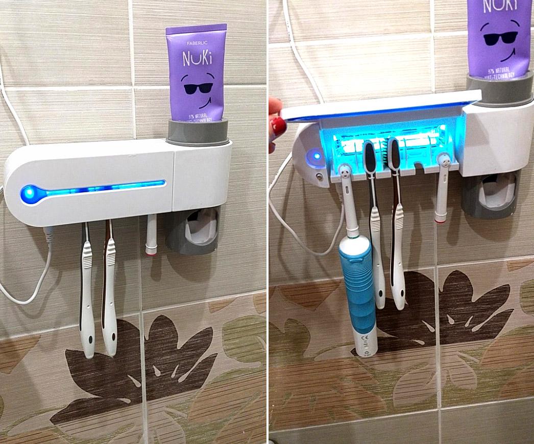 Органайзер зубных щток с ультрафиолетовой очисткой от бактерий и автоматической подачей пасты