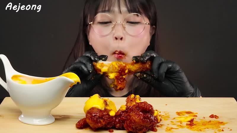 양념치킨 먹방 치즈소스까지 듬뿍 SPICY FRIED CHICKEN with CHEESE SAUCE MUKBANG EATING SOUNDS