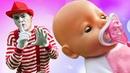 Video e giochi per bambini. Clown e le sue bambole Baby Born. Nuovi episodi