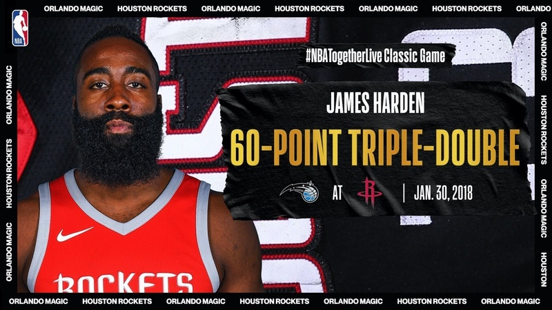Magic @ Rockets Harden notches first ever 60 point triple double Jan 30 2018 NBATogetherLive