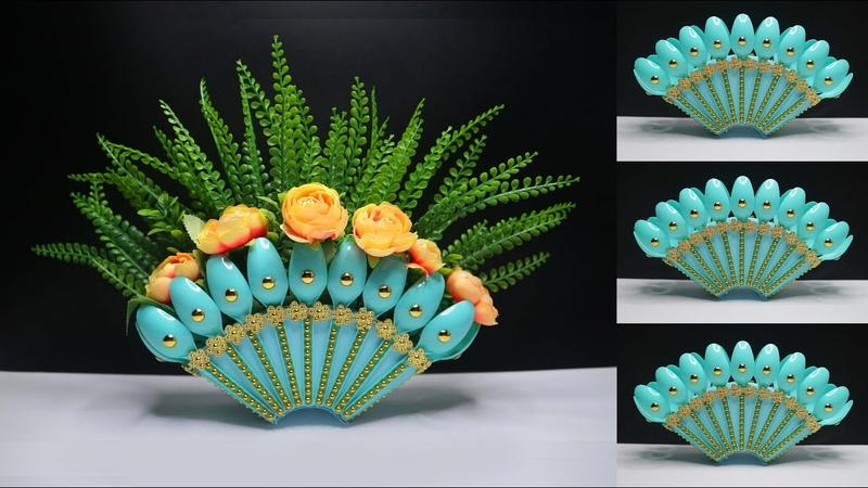 Ide Kreatif Vas bunga dari Sendok Plastik bekas kreasi barang bekas Plastic spoon flower vase