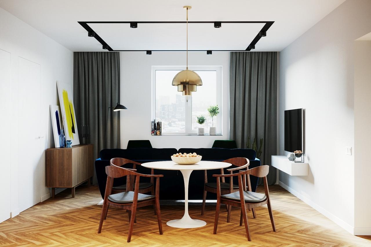 DARK LINE - дизайн-проект интерьера трёхкомнатной квартиры (80 м2) в современном стиле контемпорари, Новосибирск.